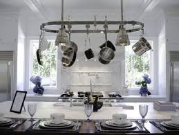 breathtaking kitchen island lighting pot rack using stainless