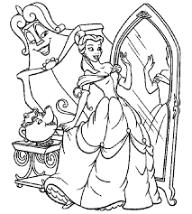 Beauty And The Beast Belle Mirror Coloring Pages For Kids Printable