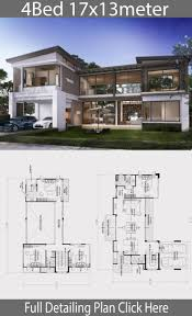 104 Contemporary House Design Plans Home Plan 17x13m With 4 Bedrooms In 2021 Beautiful Layouts Modern
