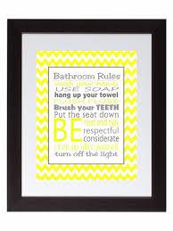 Gray Chevron Bathroom Set by Gray Yellow Chevron Bathroom Rules Wall Art Print Poster Family