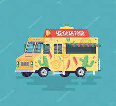 Vector Colorful Flat Mexican Food Truck. Traditional Mexican Street ...