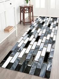 2018 Ceramic Tile Pattern Indoor Outdoor Area Rug BLACK WHITE W