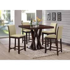 Everdon Dark Brown 5 Piece Modern Pub Table Set | See White