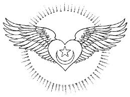 14 Pics Of Drawings Hearts With Wings Coloring Pages
