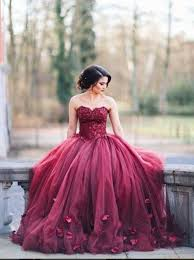 buy ball gown sweetheart burgundy tulle wedding dress with