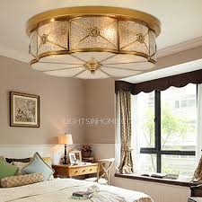 brass ceiling lights and glass shade semi flush living room
