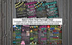 Babys First Year Monthly Milestone Chalkboard Posters
