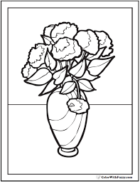 Carnations Or Mums Vase Of Flowers Coloring Pages