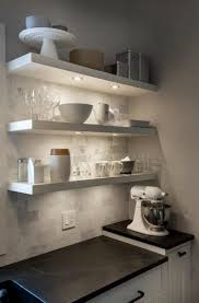 open shelving shelves soapstone counters and marble subway tiles