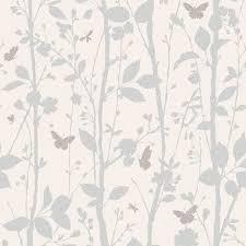 Tree Wall Decor Ebay by Dazzle Trees U0026amp Butterflies Wallpaper In White Cream U0026amp