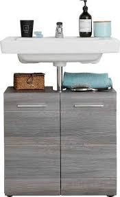 trendteam waschbeckenunterschrank skin höhe 56 cm badezimmerschrank mit fronten in hochglanz oder holzoptik mit siphonausschnitt