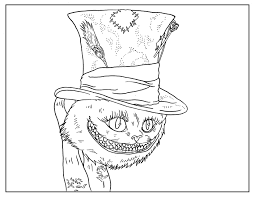 Coloring Page Inspired By Tim Burtons Movie Alice In Wonderland With Johnny Depp