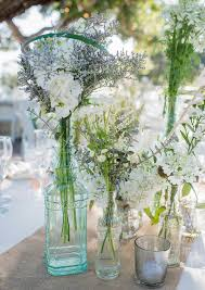 Glass Wedding Centerpiece Vases With Rustic Flowers