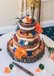 Silk Flowers Adorn This 4 Tier Wedding Cakeburnt Orange And