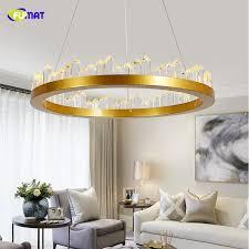 großhandel fumat kronleuchter für wohnzimmer schlafzimmer arbeitszimmer runde 110v 220v gold schwarz decken kronleuchter kristallle