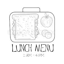 School Lunchbox Cafe Lunch Menu Promo Sign In Sketch Style Design