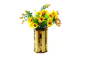 Mosaic Hex Vases With Glass Liner Designer Wooden Flower Vase