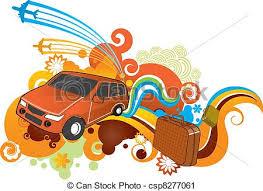 Funky Car Travel Pattern Vector Clip Art