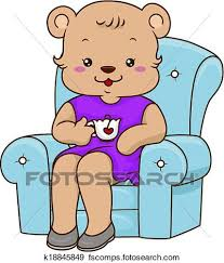 400x470 Clip Art Of Mommy Bear Teatime K18845849