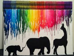 Melted Crayon Canvas Art With Elephant And Giraff