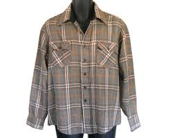 Vintage Men Flannel Shirt Plaid Brown Retro Grunge Lumberjack