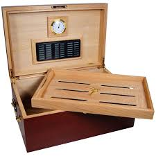 Cigar Humidor Cabinet Combo by Cabinet Perfecto Cherry Wood Large Cigar Humidor For 120 Cigars
