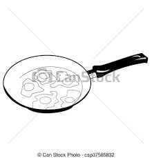 Black And White Fried Eggs Frying Pan Vector