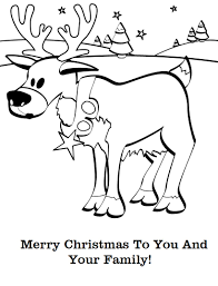 Christmas Wishes Reindeer Coloring Pages Card