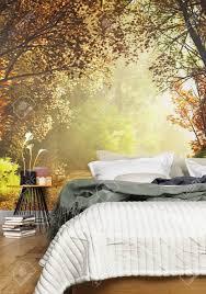 innenraum eines gemütlichen rustikales schlafzimmer mit einem land natur tapete hintergrund 3d rendering