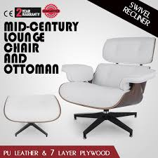 Modern Mid-Century Eames Lounge Chair & Ottoman PU Leather White ... Mid Century Modern Lounge Chair Set 4 Eames Soft Pad High Herman Milo Baughman For James Inc Recliner In Original Fabric Arne Vodder France Sons Danish Teak Recling Chairs Midcentury Modern Fniture Ding Target Vintage Mid Century Danish Modern Recliner Lounge Chair Eames Mafia Building A Shaun Boyd Made This Miller White 670 671 Leather Ottoman Chair Png Sling Midcentury Selig Swivel