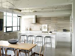 groutless tile kitchen industrial with breakfast bar concrete