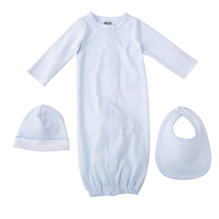 Mud Pie E8 Classic Layette Baby Boy Sleep Gown Bib and Cap Hat Gift Set
