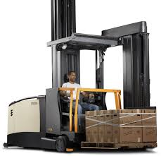 100 Crown Turret Truck Electric Forklift Rideon For Warehouses For Very Narrow