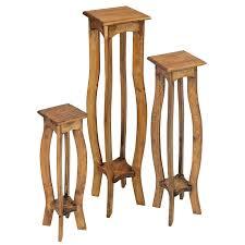 Rustic Pine Pedestal Plant Stands Set of 3