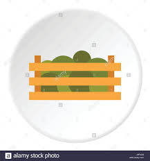 Wooden Crate With Vegetables Icon Flat Style