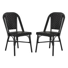 Safavieh Daria Stacking Wicker Outdoor Dining Chair In Black (Set Of 2) Lotta Ding Chair Black Set Of 2 Source Contract Chloe Alinum Wicker Lilo Chairblack Rattan Chairs Uk Design Ideas Nairobi Woven Side Or Natural Flight Stream Pe Outdoor Modern Hampton Bay Mix And Match Brown Stackable