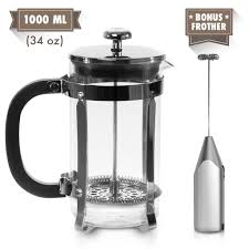 Zell French Press Tea Coffee Maker With Stainless Steel Frame And Electric Milk Frother Set
