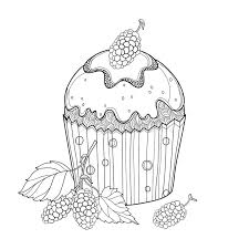 Download Vector Outline Cupcake With Mulberry Morus Ripe Berry In Black Isolated White Background