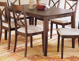 Brown Wood Dining Set With Padded Seat Chairs For Room Furniture Ideas