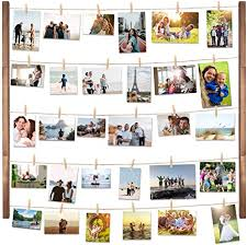 vencipo holz bilderrahmen collagen für wand deko wohnzimmer vintage hänge fotorahmen organizer mit 30 mini wäscheklammern natur dekoration für