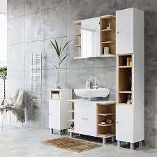 vicco badschrank aquis badezimmerschrank hochschrank bad schrank eiche weiß