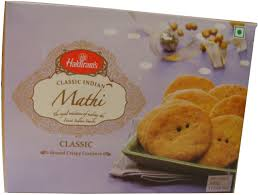 100 Mathi Haldirams Classic Round Crispy Crackers 1765 OZ 500 Grams