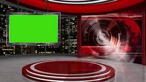 News TV Studio Set 58 Virtual Green Screen Background Loop Stock Video Footage
