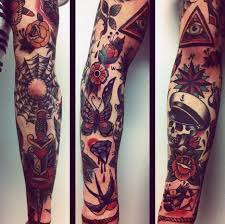 Spider Web With Sailor Skull Traditional Male Sleeve Tattoo