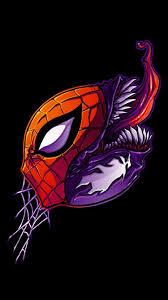 Marvel ics spider man venom black background fan art wallpaper