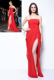 katy perry red sequin strapless sweetheart slit ankle