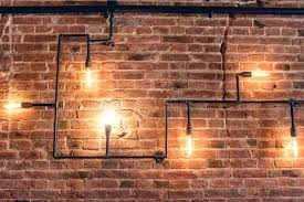Download Design Of Vintage Wall Rustic Brick With Light Bulbs And Pipes