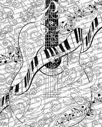 Adult Coloring Page Printable Guitar FREE Poster Piano Line Art Instant Download