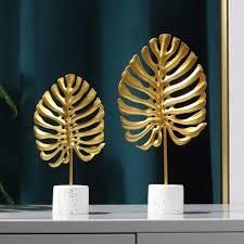 eisen monstera leaf modell figuren skulptur für wohnzimmer schrank dekorationen statuen skulpturen desktop ornement wohnkultur