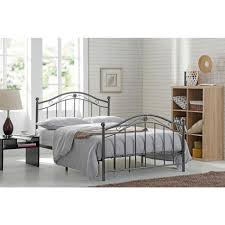 Wrought Iron King Headboard And Footboard by Hodedah Black Silver Full Size Metal Panel Bed With Headboard And